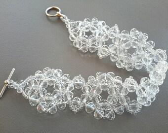 Wedding Bracelet Bridal Bracelet Clear Crystal Bracelet Bridal Gift Wedding Accessories Beaded Bracelet Bridal Jewelry Wedding Jewelry