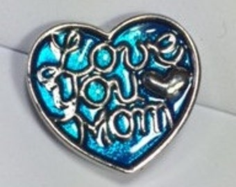 New! I LOVE YOU MOM Heart Snap...Metal..... Fits 18-20mm