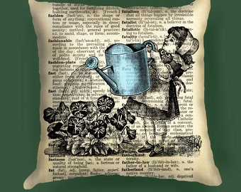 Girl with watering pillow Cover, Girls with watering decor