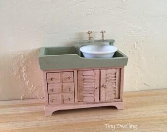 Dollhouse Miniature Sink, Miniature Sink, Miniature Bathroom, Miniature House, Dollhouse Accessory 1:12 scale