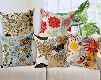 Hand painted sketchy flowers cushion cover, throw pillow cover