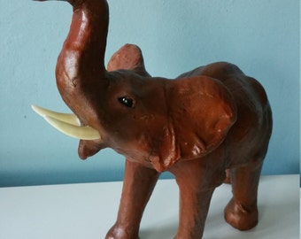 Leather elephant #1 ! Great vintage home décor leather animal statue
