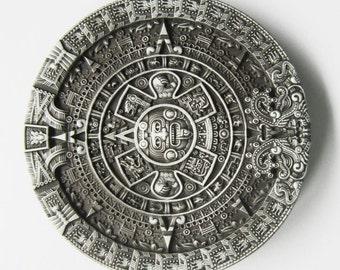 Classic Vintage Aztec Calendar Belt Buckle