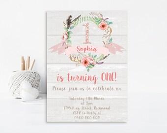 Vintage Birthday Invitation - Shabby Chic Invitation - Printable Invitation - Vintage Party - Girls Birthday Invitation - Personalized GB07