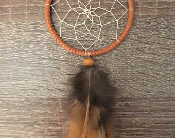 Dreamcatcher : small beaded feather / brown / car rear-view mirror / baby shower gift / bridal party gift
