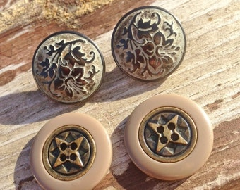 Vintage french buttons, metal buttons, buttons, sewing sundries, gold coloured buttons, oyster coloured buttons, shank style buttons