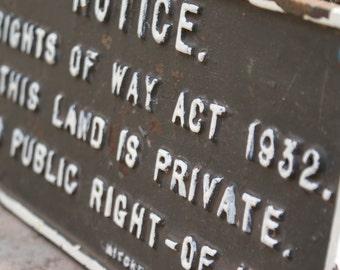 Mitchells & Butlers LTD original cast iron pub public right-of-way sign