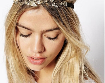 Gold Leaf Headband, Stretchy Headband, Bridal Head Piece/ Bohemian style, Boho Accessories, Wedding Hair Band