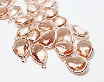 G000304P/Light Peach/Rose Gold plated over brass/Drop faceted glass pendant/11.4mm x 17.1mm /2pcs