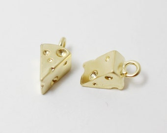 P0265/Anti-Tarnished Matte Gold Plating Over Brass/Cheese Pendant/6 x 11 mm/2pcs