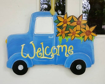 Vintage Truck with Flowers door hang