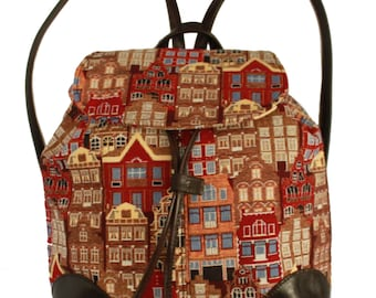 Tapestry Backpack Flemish House 40x30cm (15,7 X 11,8 inches)