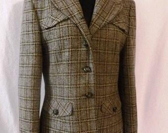Vintage Pendleton Women's Sz 10 Plaid 3-Button Blazer Lambswool Wool Jacket