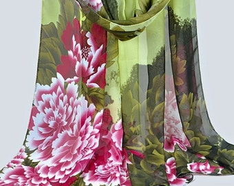 Scarf shawl wrap sarong cover up Fichu with flowers pink green brown multi wedding party