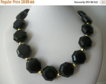 ON SALE Vintage Elegant Black Gold Necklace 1580