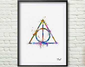 The Deathly Hallows  art print watercolor wall art wall hanging Deathly Hallows painting art paper The Deathly Hallows Wall art decor P230