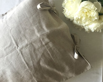 Linen pillowcase with ties, pillow case with ties, standard, queen size, king size, cottage chic shams