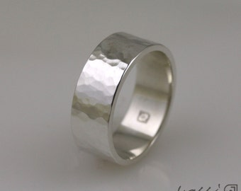 Sterling Silver Handmade Hammered Texture Ring. 7 mm width
