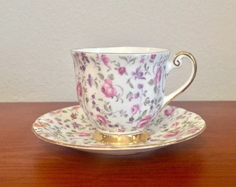 Pink Rose Purple and Gold Teacup and Saucer // Windsor Bone China