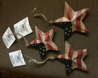 3D star with American Flag Distressed Finish