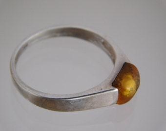 vintage Handmade Sterling Silver Gold Amber ( Size 7.5 )
