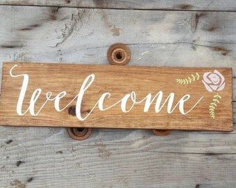 Welcome wood sign, Wood welcome sign, Wood sign for home, Housewarming gift
