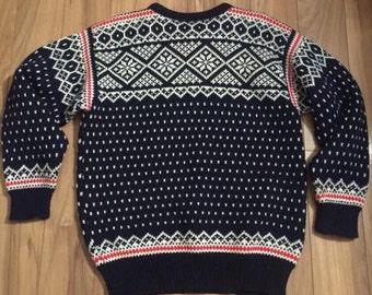 Dale of Norway Sweater Nordic Wool Medium Navy Red Geometric Print Snowflake
