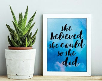 Inspirational Quote Print, Motivational Quotes, Printable Quote, Blue Watercolor, Printable Art, Typography Print, Instant Download