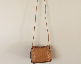 Vintage Small Brown Woven Basket Purse
