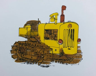 Cley Caterpillar Tractor Limited Edition Screen print by Emily Gillmor
