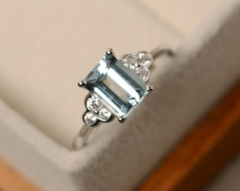 Aquamarine ring, March birthstone ring, emerald cut aquamarine, sterling silver, promise ring
