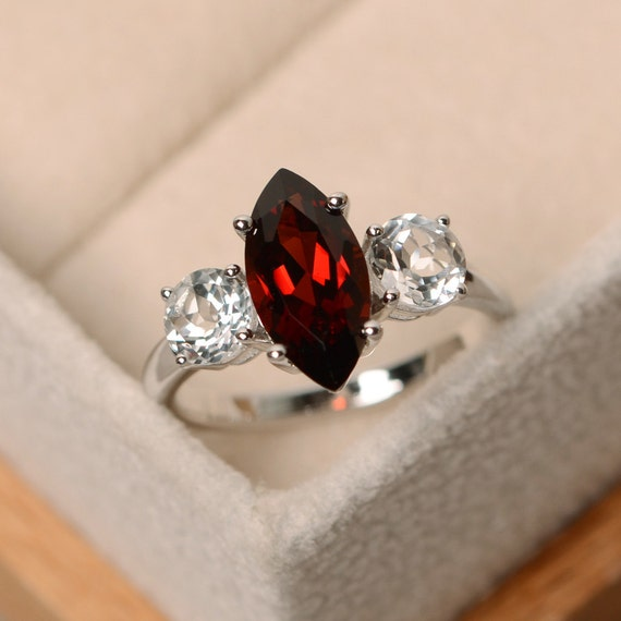 Marquise garnet ring red garnet marquise cut sterling for Garnet wedding ring meaning