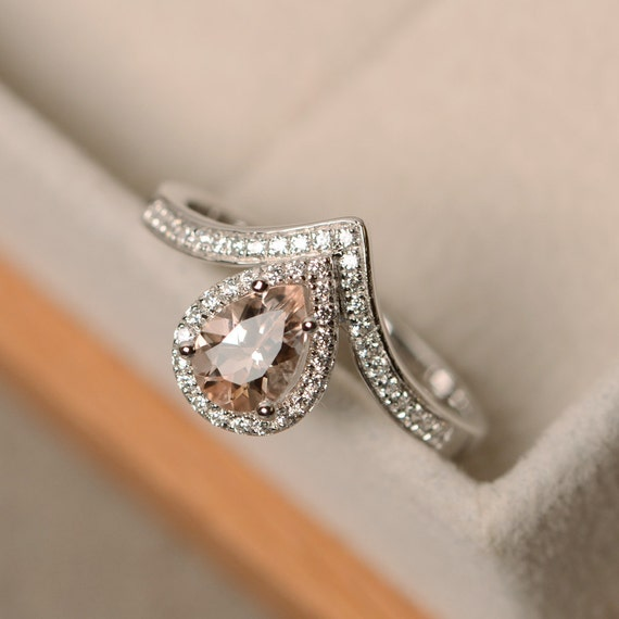 morganite wedding rings morganite ring pear cut sterling silver engagement ring 6018