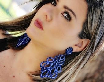 Blue sparkle earring, party earring,  long earring, party earring, statement earring, extravagant earring