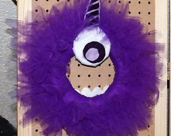 One Eye One Horn Purple People Eater Tulle Wreath- Handmade
