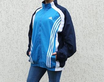 Old School ADIDAS Vintage Sport Jacket Vintage Large Size  Windbreaker Blue White Stripes