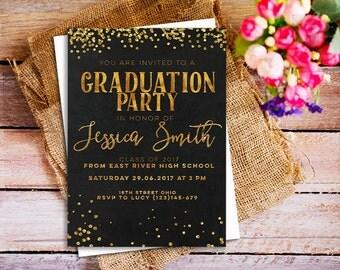 Graduation invitation, Graduation Invite, Chalkboard Gold Graduation Invites, Printable High School Graduation, Open House Party, modern
