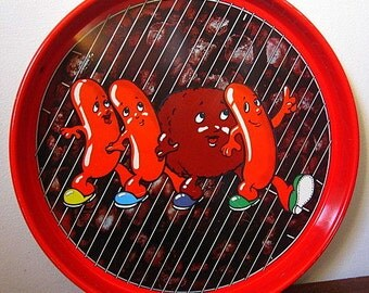 Vintage 70s Cheinco Housewares Aluminum Tray with Hot Dogs and Burgers Dancing on Grill Print