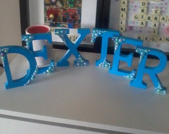 Freestanding letters, decorated freestanding letters,  personalised letter,  bling letters, girls gift,  boys gift \handmade