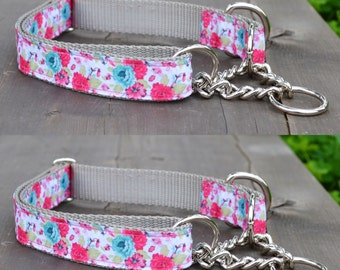 Rosie. Dog Collar, Martingale Collar, Check Chain, Floral, Flowers, Pink, Girl