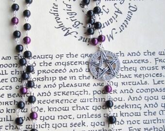 Pentagram Rosary, Black/Purple