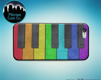 Piano Keys Rainbow Colors Keyboard Distressed Texture Case for iPhone 6s Plus iPhone 6s iPhone 6 Plus iPhone 6 iPhone 5s iPhone 5 iPhone 5c