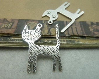 20 Cat Charms Antique Silver Tone Cute 2 Sided different