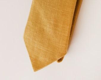 Mustard Yellow Cotton & Linen Blend Skinny Tie