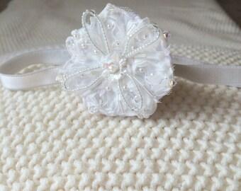 crystal headband,white headband,baptism headband,christening headband,infant headband,flower girl headband,baby headband,white baptism girl