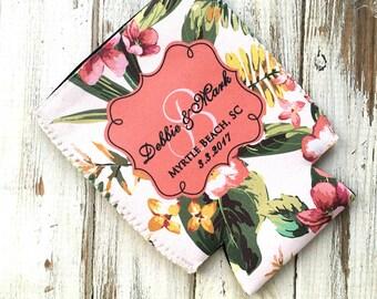 Personalizable wedding favor, Set of (12), Party favor can cozie, Pink wedding colors, Floral wedding bottle hugger, Tropical wedding (1639)