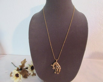 Stunning Vintage Gold Plated Giraffe Necklace
