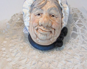 Sairey Gamp Head Made in England Initialed Chalkware  Grumpy Look Lady Head Plaster Decor Collectible Conversation Piece