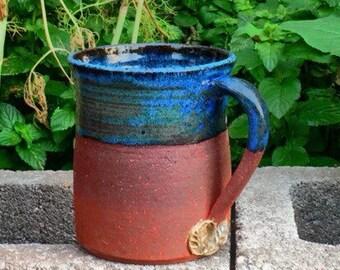 Ceramic pottery mugs, 18 oz, blue, red