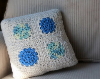 Boho crochet granny square throw pillow